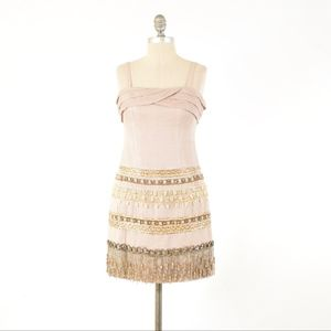 Nanette Lepore Beaded Linen Sheath Dress